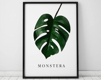 Monstera Leaf INSTANT DOWNLOAD Illustration Art, Digital Illustration, Botany Print, Monstera Leaf Printable, Green, Tropical Leaf Print