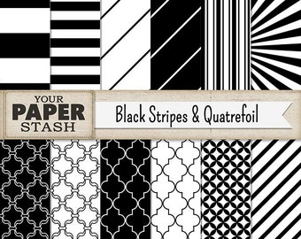 Striped Digital Paper, Quatrefoil, Black, Scrapbook Paper, Black & White, Stripes, Digital Pack, Scrapbook Page, Wedding, New Year's, Print