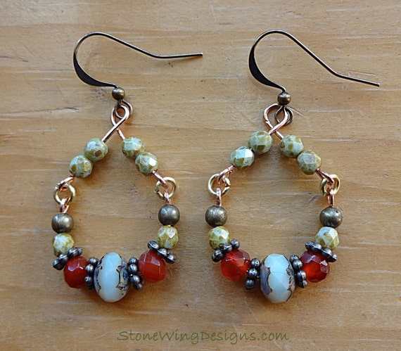 Rustic Boho Hoop Earrings with Carnelian, Czech Firepolish and Antique Brass