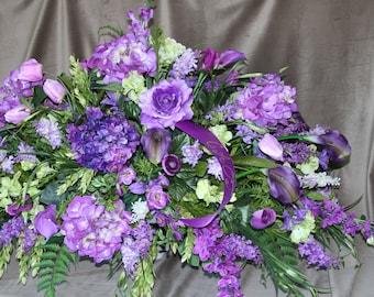 Casket Spray Purple Funeral Flowers