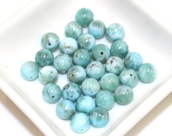 5 Beads of 8mm Larimar Baby Blue Ocean Blue Throat Chakra High Quality Gemstone for Mala and Jewellery Making