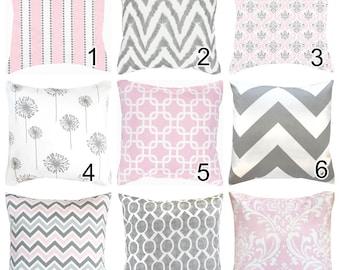 "Pink Grey White Geometric Throw Pillow Toss Pillow Lumbar Euro Sham Cushion Cover 18""x18"" Custom Size-Kids Pillow Nursery Pillow"