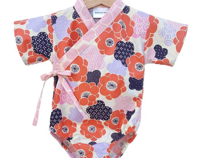 Baby Kimono Bodysuit - PLUM BLOSSOM - Japanese kimono onesie for baby and toddler