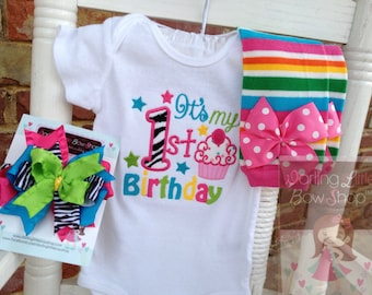 Baby Girl First Birthday Outfit  - It's my 1st Birthday - bodysuit, leg warmers and bow in hot pink, turquoise, lime green, yellow and zebra