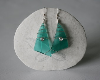Silver Spiral & Turquoise Recycled Glass Wire Wrapped Earrings