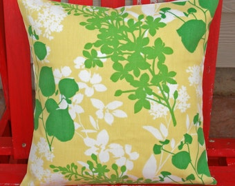Decorative Throw Pillow Cover, Floral Silhouette Outdoor Accent Pillow Cover, Handmade Floral Lemon Yellow & Green Outdoor Cushion Cover