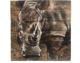 Rhino. Charcoal on wood. Original Art.