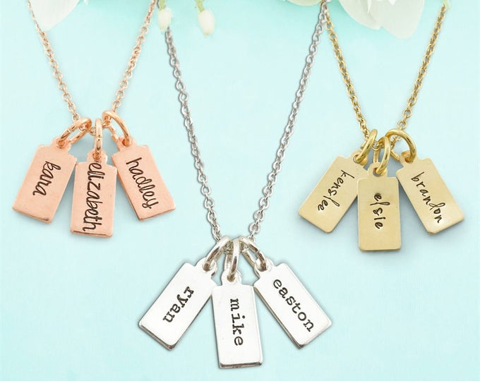 Personalized Mothers Gift - Sterling silver tag necklace - mothers day gift - grandmothers gift - grandmothers necklace - personalized gift