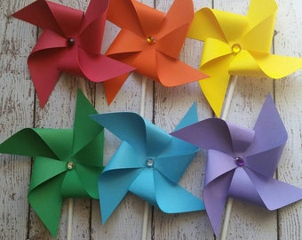 Paper Pinwheels - Rainbow Pinwheels - Mini Pinwheels - Pinwheel Cupcake Toppers - Rainbow Party Decor - Rainbow Birthday Party Supplies