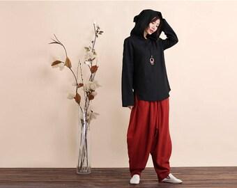 Women Linen Hoodies – Retro Style Linen Women's Hoodies