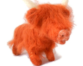Custom needle felted animal sculpture, Scottish art, Example Highland cow art