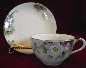 Early Noritake Cup and Saucer circa 1916, Floral Pattern, PM583,  On Sale Now!