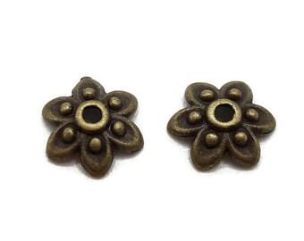 50 bead caps 10 mm - antique bronze flower 10 mm - Cup Tibetan - A228 cups