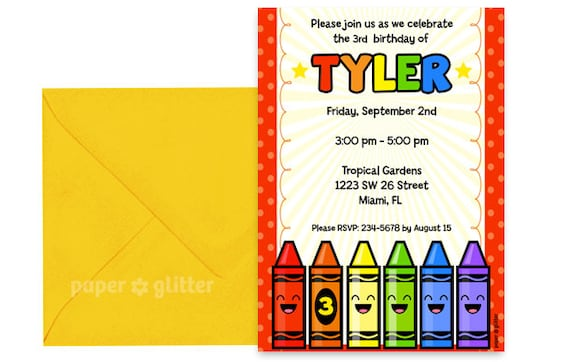 crayon rainbow party invitation for birthday or school