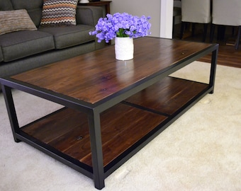 Rustic Industrial Walnut Coffee Table