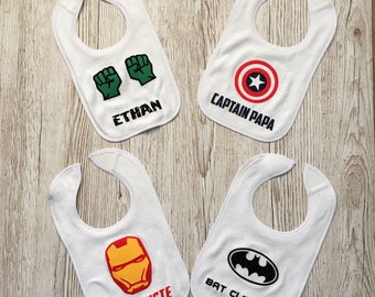 Personalised Marvel / DC Superhero Inspired Baby Bib