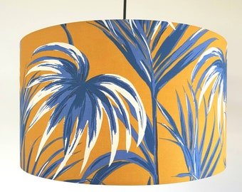 Tropical Palm Leaves Fabric Lampshade in Mustard and Blue