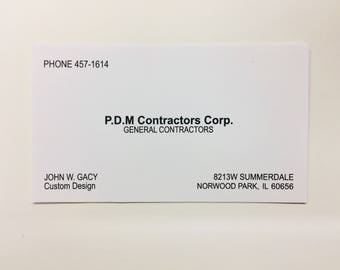 John Wayne Gacy business card