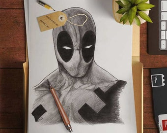 Deadpool drawing art print - pencil sketch