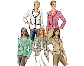 Women's Jacket / Blazer Sewing Pattern Misses / Petite Size 12-14-16 Bust 34-36-38 UNCUT Vogue V8042
