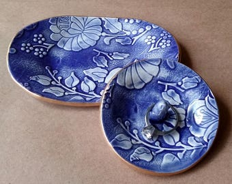 Ceramic Trinket Dish with matching Ring Holder set cobalt Blue edged in gold