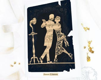 Art Deco, dancing couple, 1920s flapper silhouette, love card, romantic card, Valentine's day card, blank all occasion card