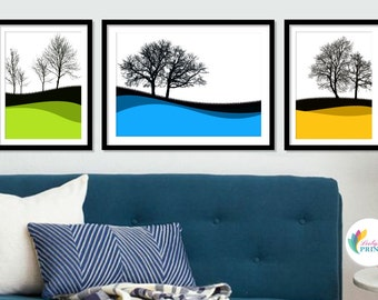 Winter Tree Silhouettes - Set of 3 - Colourful Print Arrangement