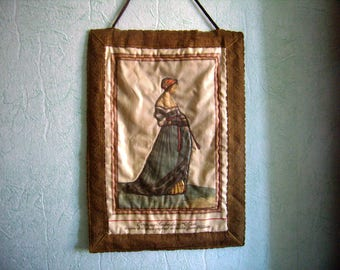 Antique wall hanging, Costume Switzerland of the 16th century, printed on silk