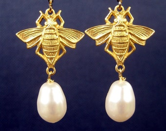 Honeybee Pearl Clip On Earrings, Brass Bee Wedding Earrings, Bumblebee Bridal Clipons, White Pearl Teardrop, Gold Ear Clips