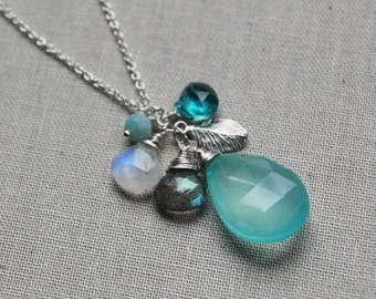 Delicate Aqua Blue Leaf Cluster Necklace in Sterling Silver, Boho Beach Style, Cluster Pendant, E1212
