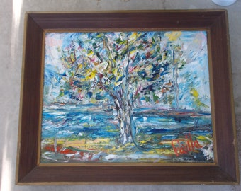 The Tree original impasto palette knife oil painting by US artist signed and framed paintint 16x20 inches frame 20x24 inches
