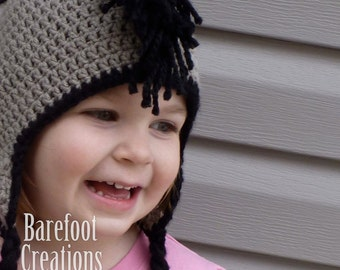 Mohawk Earflap Hat - Mohawk Hat - Baby through Adult Sizes