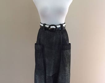 Late 70s-Early 80s Vintage Rose Bertin Shaded Charcoal Leather Skirt With Silver Metallic Specks/Made in Italy