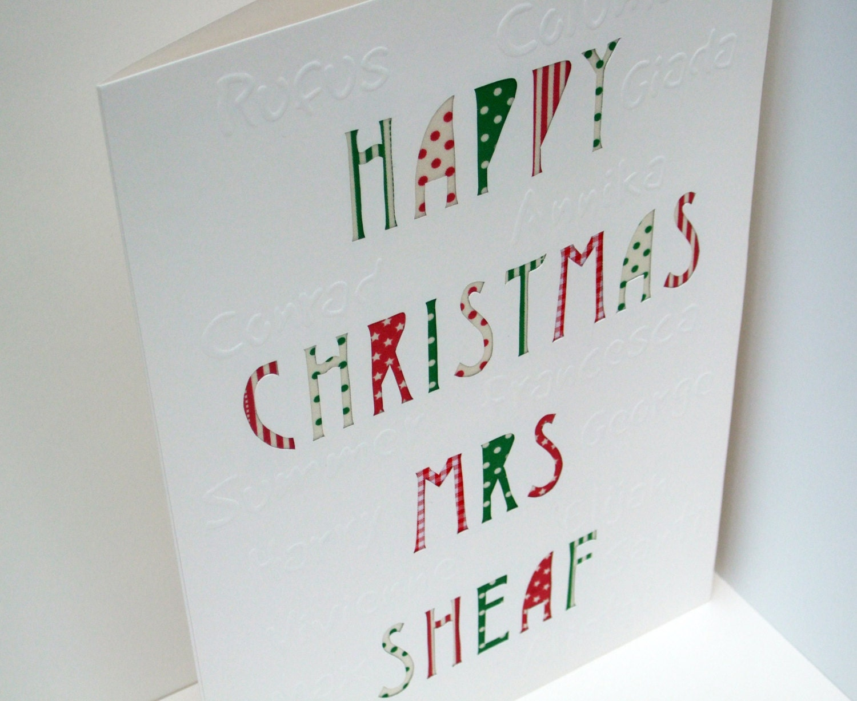 Large personalised teachers christmas card paper handmade zoom m4hsunfo