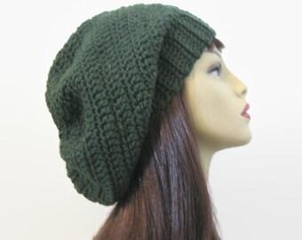 Green Slouch Beanie Green Crochet women's hat Dark Green Beanie Green Crochet Beanie Forest Green Slouchy Beret Green slouch Tam knit hat
