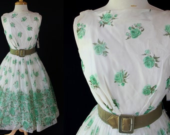 50s 60s Deadstock Dress, Fit and Flare, Circle Skirt, Vintage Wedding, Party, Prom