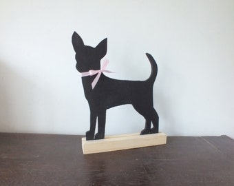 A Hand Made and Hand Painted Chihuahua Chalkboard / BlackBoard