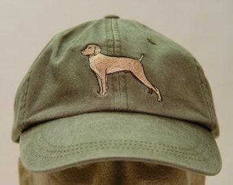 VIZSLA  HAT - One Embroidered Dog Cap - Price Embroidery Apparel - 24 Color Caps Available