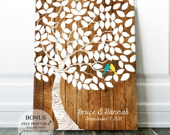 Bridal Shower Gift Wedding Signs - Wedding Guest Book Guest Sign - Wedding Guest book Alternative - Unique Guest Book Rustic Wedding Tree