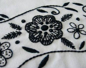 Black Jacobean floral hand embroidered border pillowcase pair, standard size, cotton and polyester blend, white cases