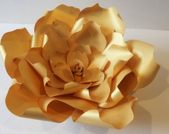 Gold giant Paper flower , Paper backdrop ,wedding flower backdrop,wedding backdrop,baby shower backdrop,large paper flower,gold paper flower