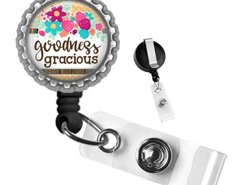 Goodness Gracious Silver Retractable Badge Reel ID Tag Holder by Geek Badges