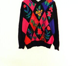 Bold Vintage Floral Argyle Sweater / 80s Oversized New Wave Sweater / Diamond Colorblock Sweater / Vintage Jumper
