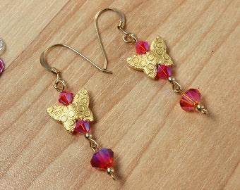 SALE Butterfly Earrings, Pink Pink Crystal Earrings, Butterfly Earrings