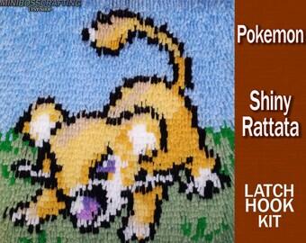 Shiny Rattata - Pokemon - DIY Latch Hook Rug Kit - 10 by 11 Inches