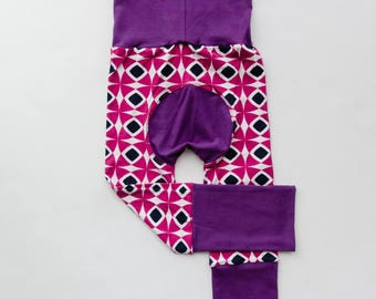 Fuchsia Mosaic and Purple Baby Big Butt Pants - Grow with me pants - Cloth diaper friendly - Toddler - Gift