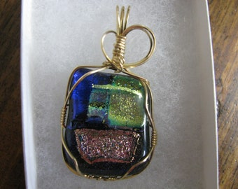 Handcrafted Wire Wrapped Dichroic Glass Pendant