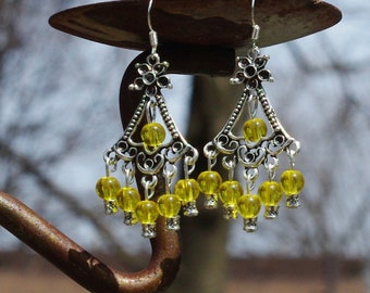 Citrine Stone Earrings ~ Chandelier Earrings ~ Sunshine Yellow ~ November Birthstone ~ Prom Wear ~ Graduation Gift ~ Retirement Gift