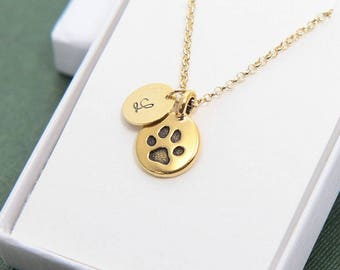 Paw Necklace, Paw Print Necklace, Personalized Necklace, Initial Necklace, Animal Lover Gift, Dog Lover Necklace, Cat Lover Gift, Paw Charm