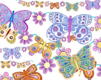 Colour your own Bunting - Butterfly design